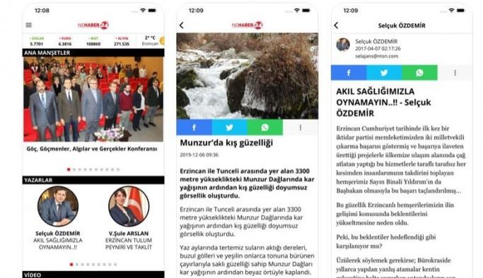 Erzincan'ın ilk mobil haber uygulaması Nehaber24 yayında