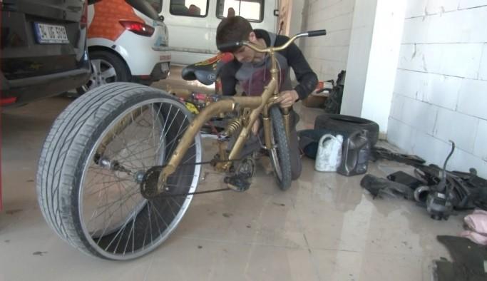 (Özel) Lastiği sürekli patlayan bisikletine çözümü otomobil lastiğinde buldu