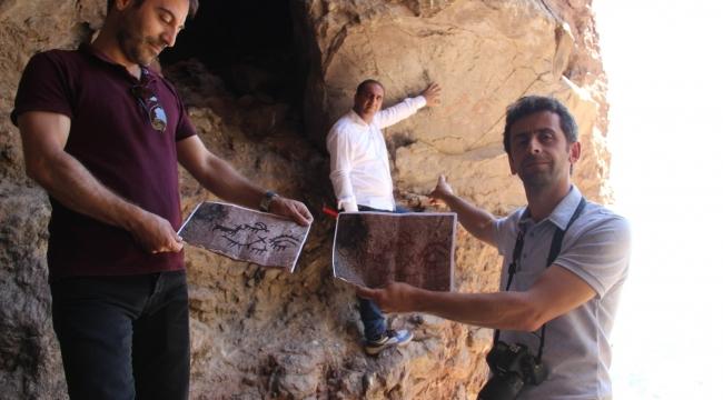 Erzurum'da 8 bin yıllık aşı boyasıyla yapılmış kaya resmi bulundu