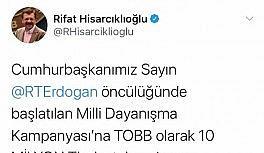 """TOBB Başkanı Hisarcıklıoğlu'ndan """"Biz Bize Yeteriz Türkiyem"""" kampanyasına destek"""