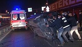 Kontrolden çıkan otomobil bariyerlere çarpıp yan yattı: 1 yaralı
